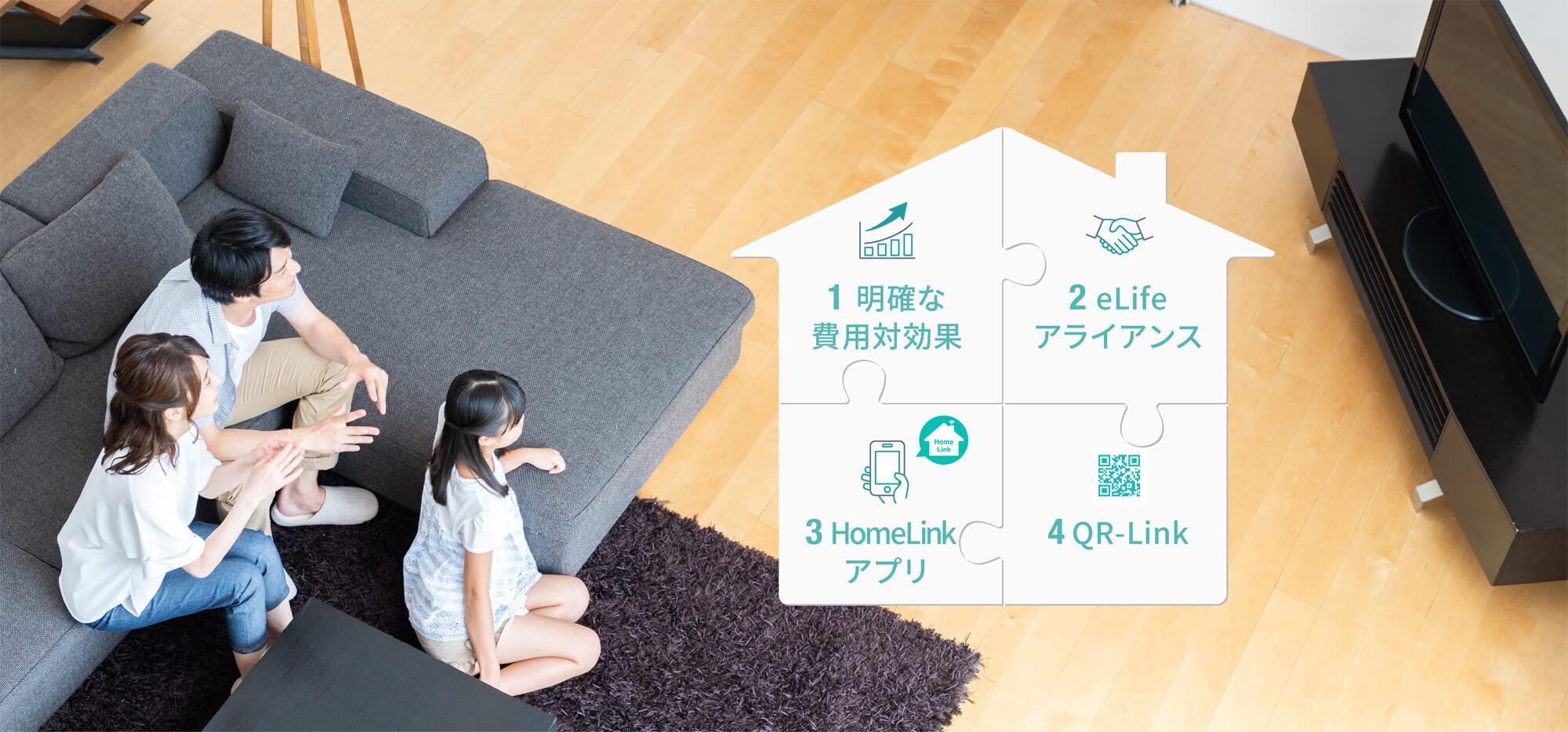 1 明確な費用対効果 2 eLifeアライアンス 3 HomeLinkアプリ 4 QR-Link